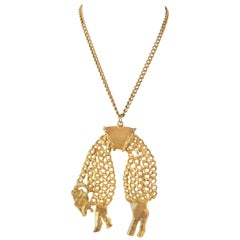 1970s Huge Kenneth Jay Lane Golden Fleece Sheep Pendant Necklace