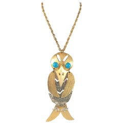 1970s Huge Kenneth Jay Lane Bird Pendant Necklace