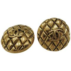 Chanel gold tone clip on earrings