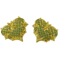 Christian Lacroix Vintage Baroque Heart Clip-on Earrings
