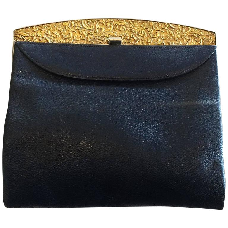 98e91ac16a5e Art Deco French Navy Blue Leather Clutch Purse Handbag With Gilt