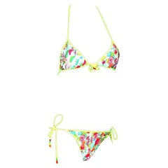 Christian Dior by John Galliano Print Bikini with Pearl Trimming