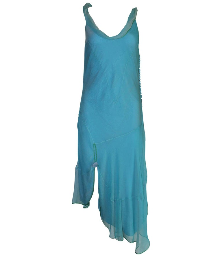 Beautiful Christian Dior by John Galliano Seafoam Silk Chiffon Dress  For Sale