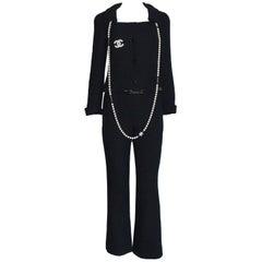 Black Chanel Tweed Pants Suit with Belt