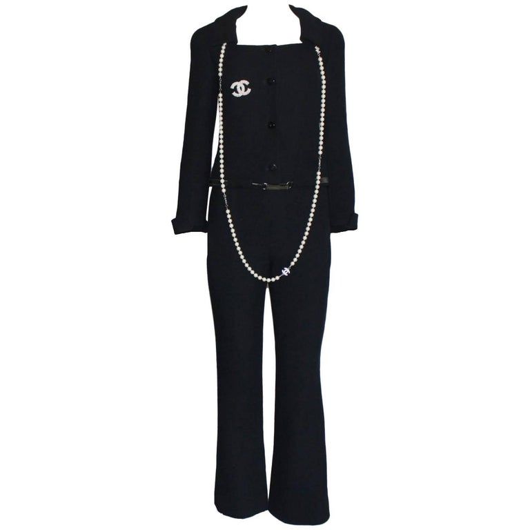 Black Chanel Tweed Pants Suit with Belt