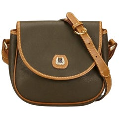 Lancel Green Embossed Leather Shoulder Bag