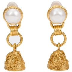 Chanel Pearl & Bell Florentine Earrings