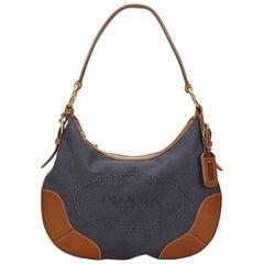 Prada Blue Canvas Shoulder Bag