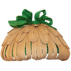 Whimsical 1950's Bonta Creatrice Straw Petal Hat With Kelly Green Bow