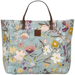 Gucci Blue Printed Canvas Tote Bag