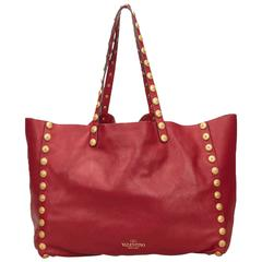 Valentino Red Leather Rockstud Tote