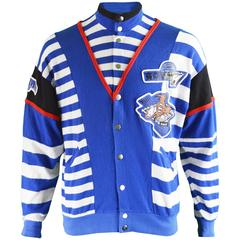 Kansai Yamamoto Men's Vintage Blue & White Knit Jacket, 1990s