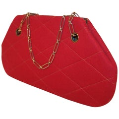 Mod 1960's Red Wool Quilted Handbag With Chain Handle