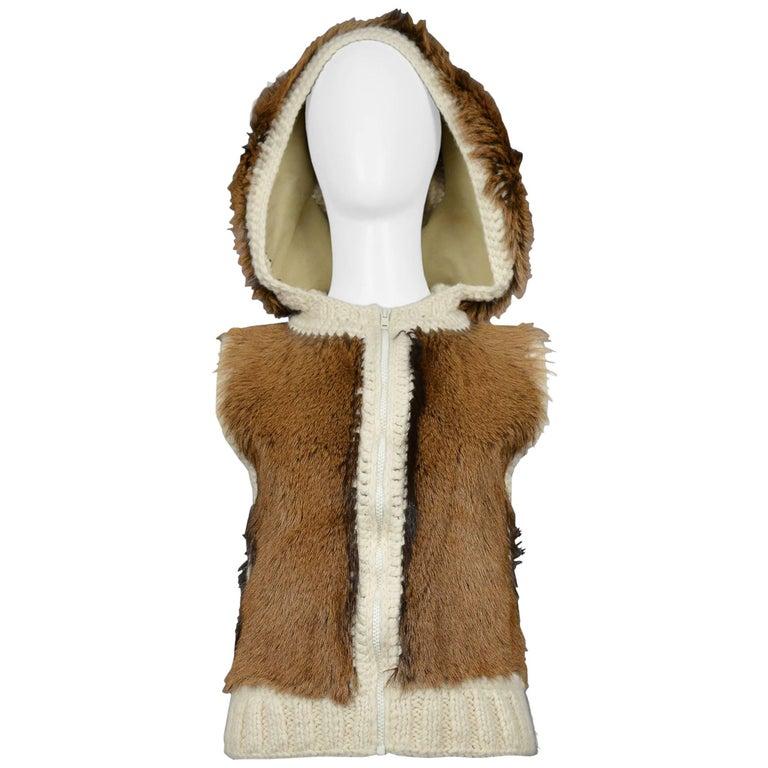 Christian Dior By John Galliano Alpaca Fur & Crochet Hoodie Vest Runway 2001