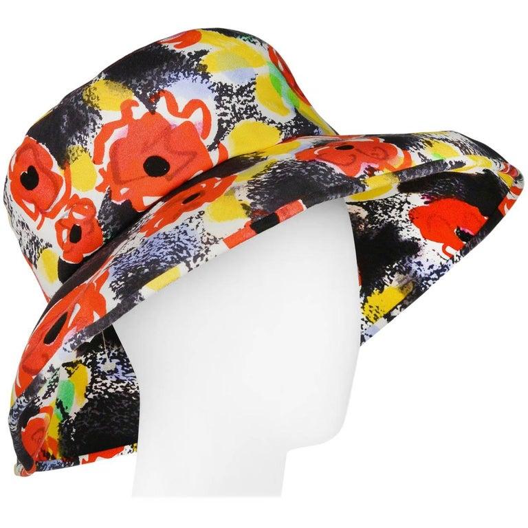 Chanel Black & Red Camellia Pop Art Floral Print Beach Hat 1997