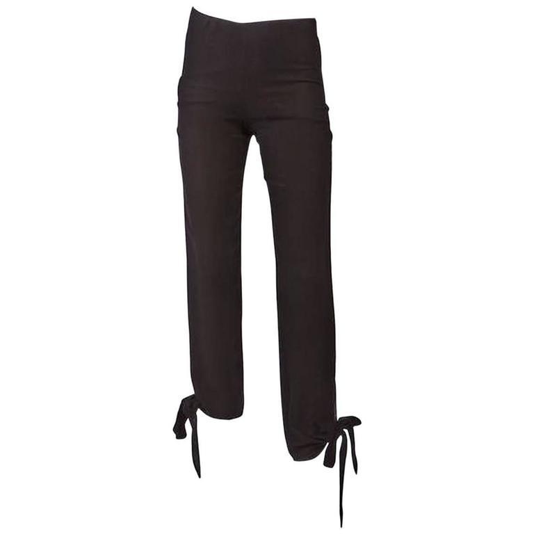 1990's Jean Paul Gaultier Black Woven Ankle Tie Pants For Sale