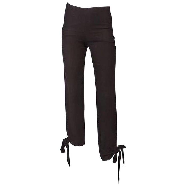 1990's Jean Paul Gaultier Black Woven Ankle Tie Pants