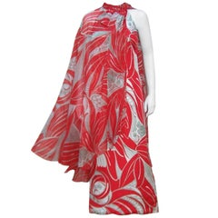 Tropical 1970's Halter Evening Dress With Dramatic Chiffon Cape