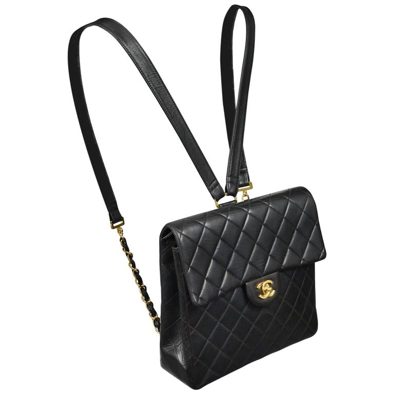 283cfd7f1c Unusual Chanel Square Quilted Black Leather Backpack Bag With Chain Straps  For Sale