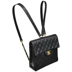 Unusual Chanel Square Quilted Black Leather Backpack Bag With Chain Straps