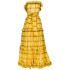 Yves Saint Laurent Marigold Yellow Grid & Dot Organza Hostess Ensemble