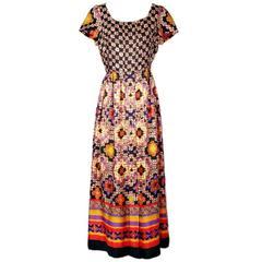 Lanvin Printed Silk Dress circa 1970s