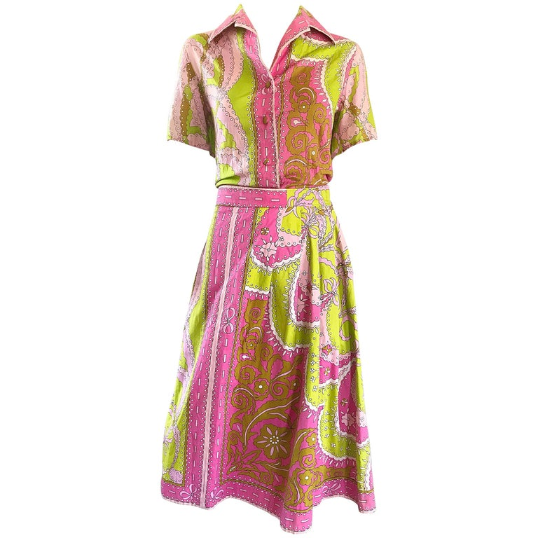1960s Emilio Pucci Cotton Pink and Green Vintage 60s Blouse and Skirt Dress Set