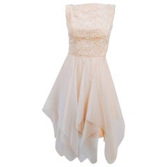 60s Lace and Organza Kerchief Hem Dress