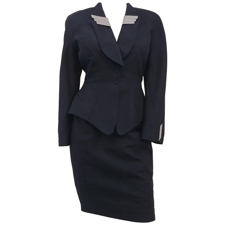 Thierry Mugler Navy Suit and Skirt Set