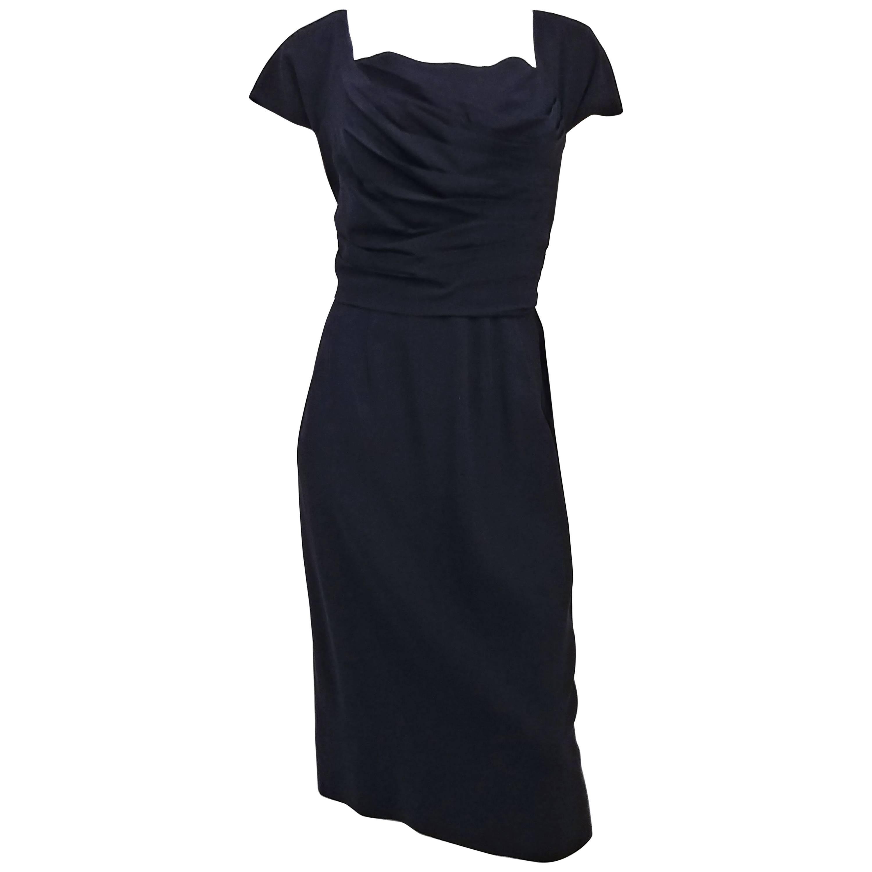 50s Dorothy O'Hara Draped Bodice Cocktail Dress