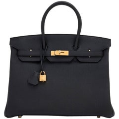 Hermes Black 35cm Birkin Togo Gold Hardware Power Birkin