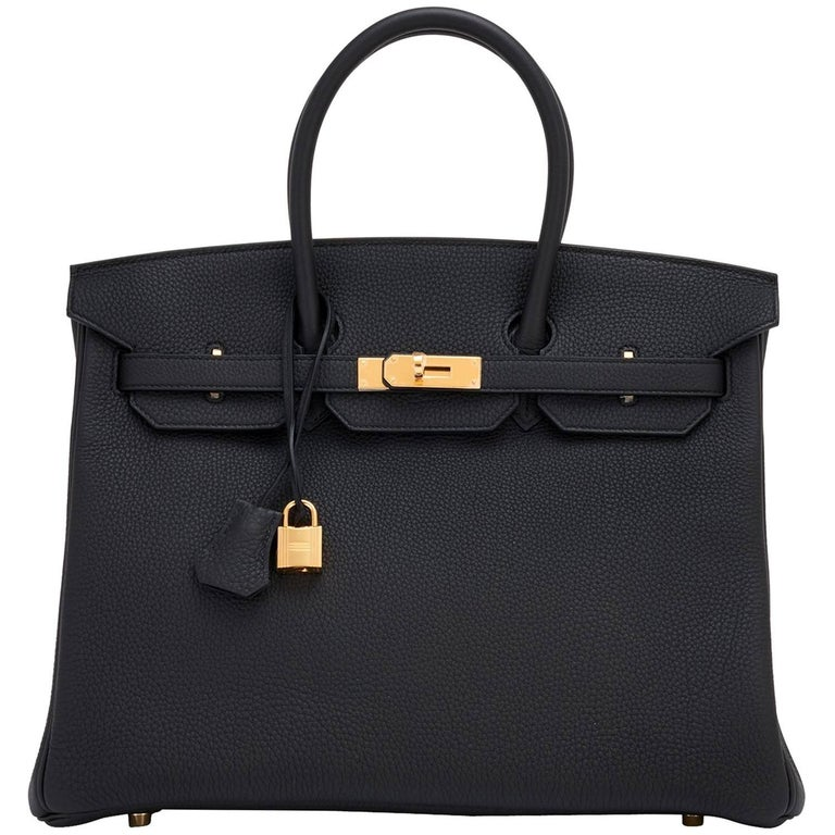 Hermes Black 35cm Togo Gold Hardware Power Birkin Bag