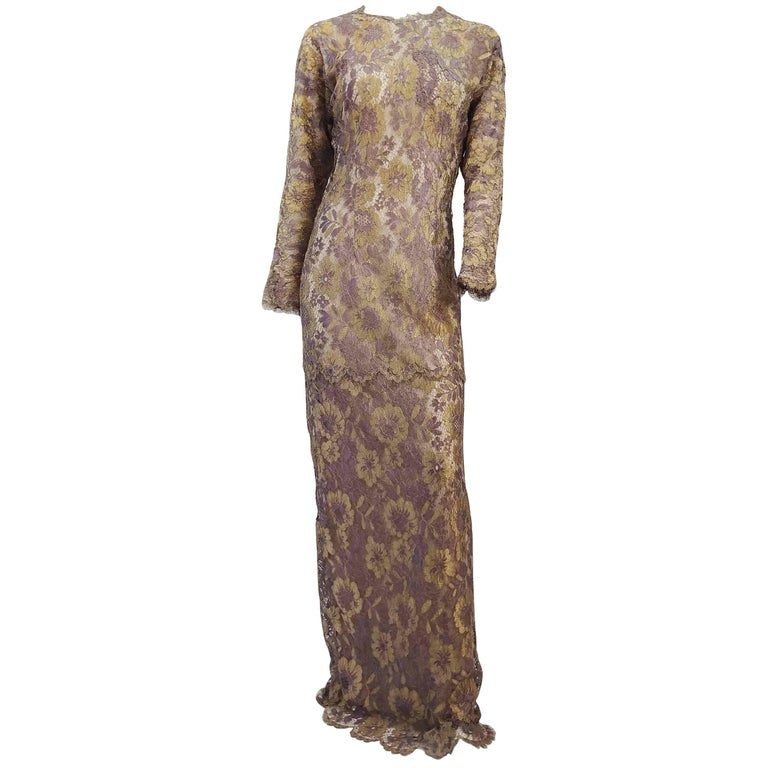 70s Metallic Gold and Purple Lace Evening Dress For Sale at 1stdibs
