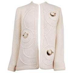 50s Knit Wool Cardigan w/ Metal Disc Details