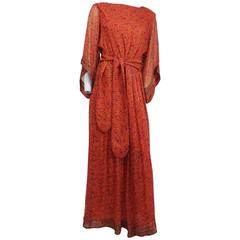 70s Printed Silk Chiffon Orange Maxi Dress