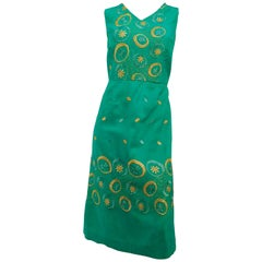 1960s Emerald Green Embroidered Cocktail Dress