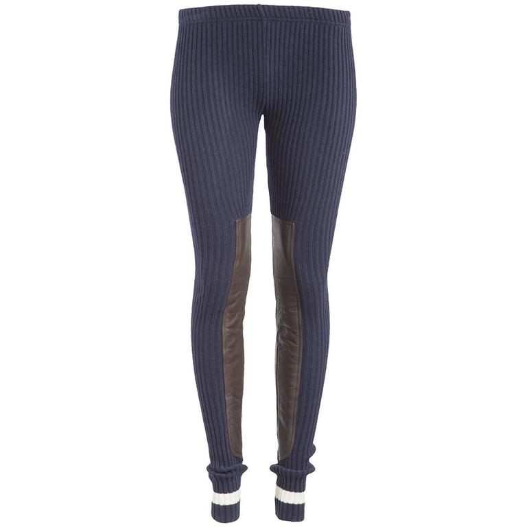 7eefbc76df8293 Undercover NWT Navy Ribbed Leather Panel Leggings For Sale. Undercover  Clothing NWT navy ribbed thick wool ...