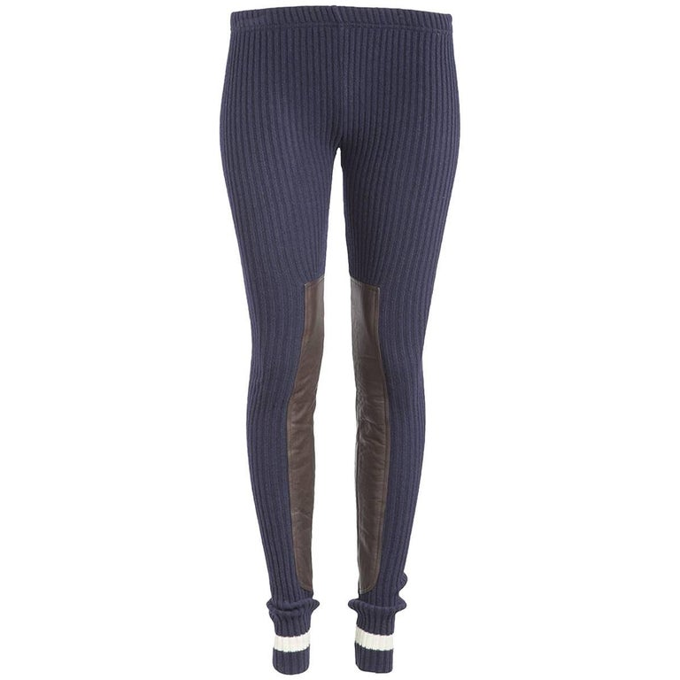 Undercover NWT Navy Ribbed Leather Panel Leggings