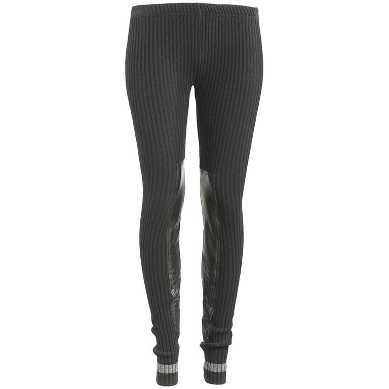 867ca8e303aeed Undercover Clothing Black Wool Ribbed Leather Panel Leegings For Sale