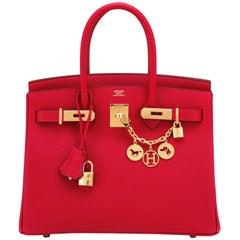 Hermes Rouge Casaque 30cm Birkin Lipstick Red Epsom Gold Hardware