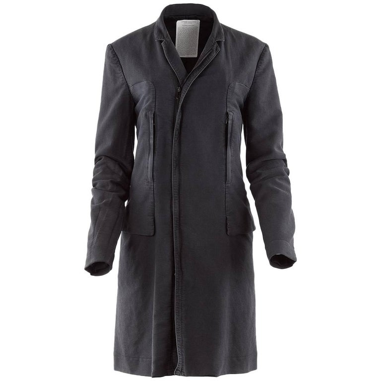 Undercover Clothing Charcoal Cotton Zip Pocket Car Coat For Sale