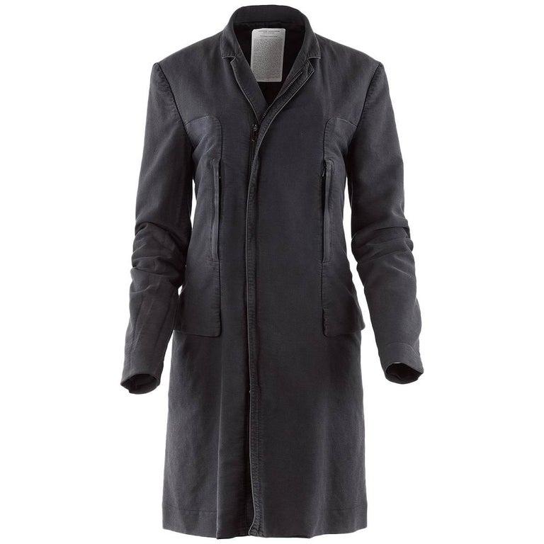 Undercover Clothing Charcoal Cotton Zip Pocket Car Coat