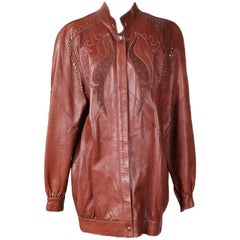 Roberto Cavalli Brown Leather Jacket with Eagle Design circa 1980s