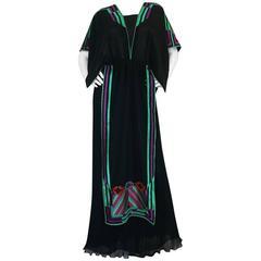 c1970-74 Janice Wainwright Embroidered Caftan Tabard & Skirt Set