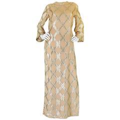 1960s Tina Leser Gold Lame Thread Side Slit Tunic Caftan Dress