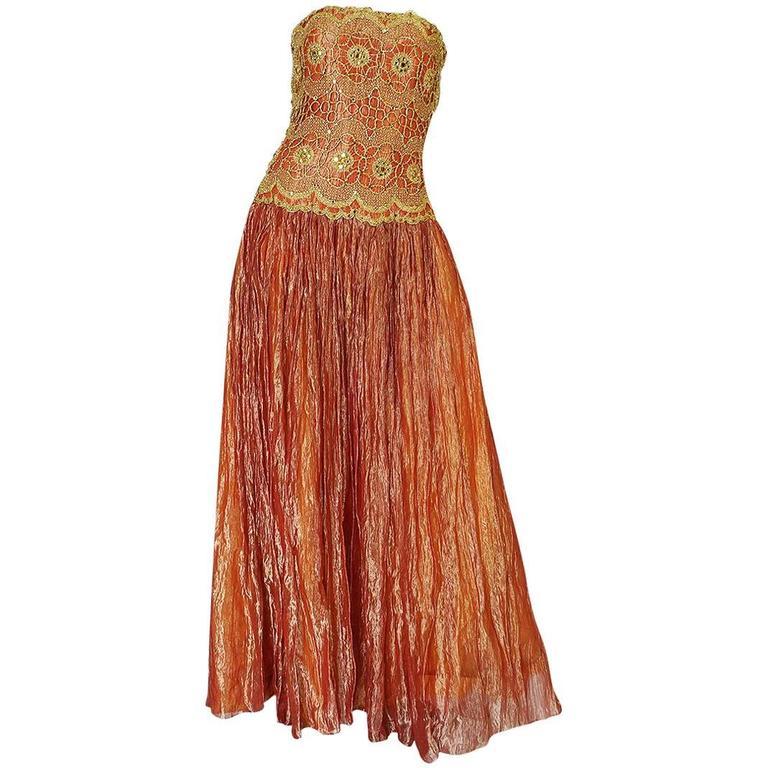 1980s Bob Mackie Strapless Gold Cord Lame Silk Dress