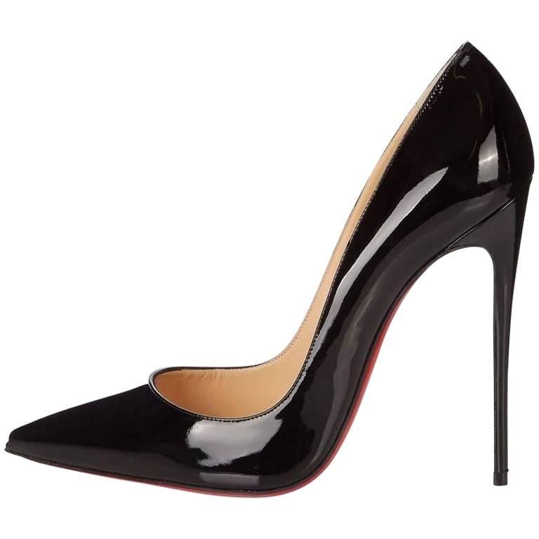 Christian Louboutin New Sold Out Black Patent Leather So Kate Pumps Heels in Box