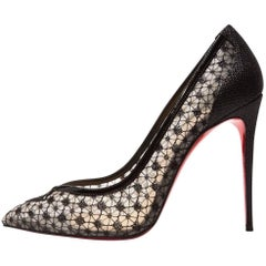 Christian Louboutin New Sold Out Black Lace Patent Heels Evening Pumps in Box