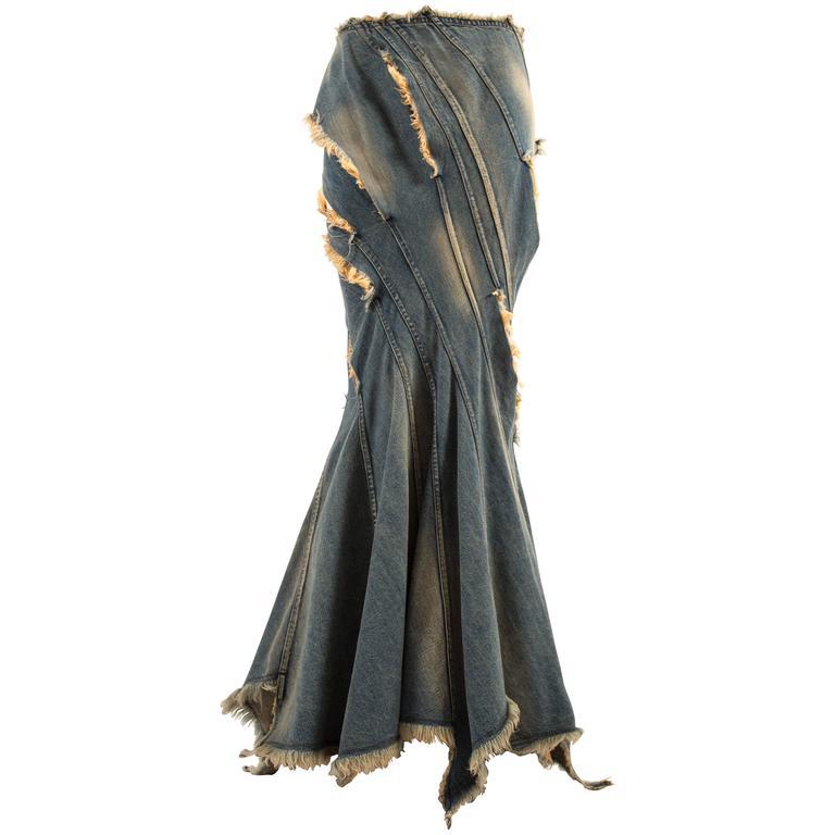 Junya Watanabe Spring-Summer 2002 bias cut denim flared skirt  For Sale
