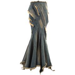 Junya Watanabe Spring-Summer 2002 bias cut denim flared skirt